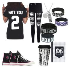 """When u have to go to school on a Monday"" by kaylairwin19 ❤ liked on Polyvore featuring Converse, Glamorous and Dot & Bo"