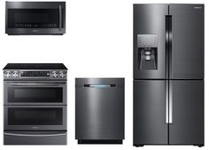 """Samsung SAM4PC30EFIFSFDCDKIT2 4 Piece Kitchen Package With NE58K9850WG 30"""" Slide In Electric Range, ME21K7010DG Over the Range Microwave Oven, RF23J9011SG 36"""" French Door Refrigerator and DW80J7550UG 24"""" Built In Dishwasher In Black stainless Steel"""