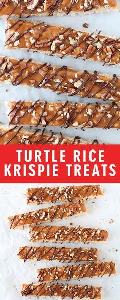 TURTLE RICE KRISPIE TREATS | Food Fun Kitchen Junk Food Snacks, Bulk Food, Rice Recipes, Snack Recipes, Delicious Recipes, Dessert Recipes, Desserts, Rice Krispy Treats Recipe, Postres