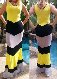 Sleeveless V Back V Neck Maxi Dress with cheap wholesale price, buy Sleeveless V Back V Neck Maxi Dress at rotita.com !