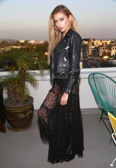 Stella Maxwell at the Alice McCall SS18 launch event with campaign face Stella Maxwell at Chateau Marmont on October 19 2017 in Los Angeles California