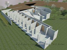 Koshino House section by Revit Architecture Tadao Ando, Koshino House, House 3d Model, Water Temple, Revit Architecture, Sustainable Design, House Plans, Floor Plans, House Design