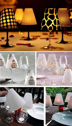 Wine Glass Lampshades Grab Your Template Diy Home Crafts, Crafts To Sell, Wine Bottle Glasses, Crafts With Glass Jars, Wine Glass Candle Holder, Wine Bottle Design, Wine Decor, Light Crafts, Deco Table