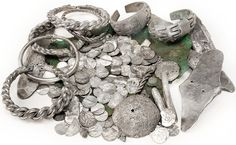 This array of silver coins, bracelets, and other forms of Viking wealth typifies the hoards found deposited at numerous sites across the island of Gotland.