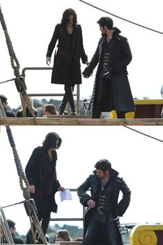 Lana & Colin (with Jennifer & Robert in the background) on set (3/26/13) I really can't wait to see this episode! Everyone's together on the ship, & it doesn't look like they're trying to kill each other :)