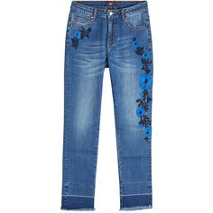 Steffen Schraut Embroidered Straight Leg Jeans (168.530 CLP) ❤ liked on Polyvore featuring jeans, black, embroidered denim jeans, embroidered jeans, steffen schraut, retro jeans and embroidery jeans