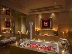 Luxury white bathroom designs romantic bathroom design ideas with rectangle modern white bathtub and brown plain Romantic Bathrooms, Dream Bathrooms, Beautiful Bathrooms, Luxurious Bathrooms, Modern Bathroom Design, Simple Bathroom, Bathroom Interior Design, Bathroom Designs, Master Bathroom