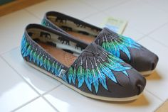 Custom Hand Painted TOMS -- Feather Moccasin on Ash Grey Canvas Classic TOMS Shoes -- Customizable on Etsy, $179.00