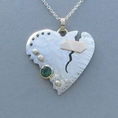 Sterling Patched Broken Heart Pendant with by SRitchieJewelry, $500.00