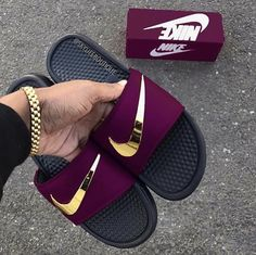 online retailer a2c75 8e94e Nike Benassi Swoosh - Golden Check Slides Royal - Size up one for men -  Down one for women. Price to be determined. This is a custom color and  limited sizes ...