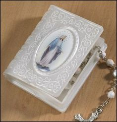 """Amazon.com: Catholic Our Lady of Grace Book Rosary Case, Rosary Not Included, Material: Moulded Epoxy Size: 2 1⁄4 x 2 3⁄4"""" H, 2"""" Deep, St. M..."""