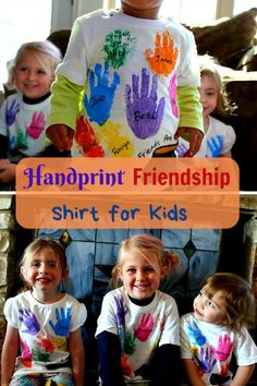 The perfect handprint shirt for play groups, daycares, and school. It is the perfect shirt to show the friendships of each class. Crafts To Do, Crafts For Kids, Art Activities For Toddlers, Kindergarten Graduation, Fabric Markers, School Shirts, Craft Gifts, Friendship, Daycares