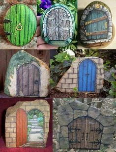 Fairy doors painted on rocks placed in fairy garden | fairiehollow.com