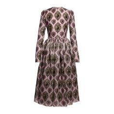 Dolce & Gabbana Long Sleeve Sacred Heart Organza Dress featuring polyvore fashion clothing dresses pink print print dress brown dress pink dress ruched dress ruching dress