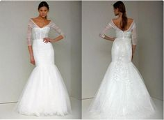 A Modern Wedding Dress With Delicate Sheer Sleeves : Addie