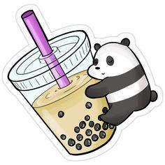 We bare bears panda drinking milk tea