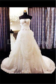 Luxury Ivory Strapless A-Line Church Satin/ Organza Wedding Dress 2014 #wedding #weddinggown #weddingdress #dress #fashion #bigday #womenfashion #womenwear #2015wedding