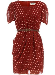 Red spot print dress with pleated waist, short sheer sleeves and inner lining. Love the gathering.