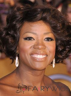 Admirable Viola Davis Hairstyle Short Wavy Full Lace 100% Human Hair Wigs for Black Women : fairywigs.com