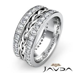 1 85 diamond solid men solid wedding band ring 14k 2 tone gold s11 ebay - Ebay Wedding Rings