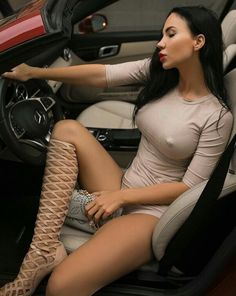 Perfectly Hot Brunette In The Car