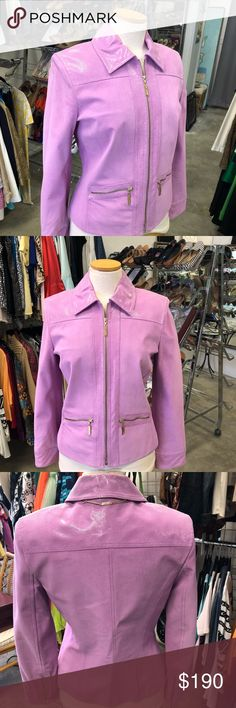St. John Lavender Suede Jacket w/Snakeskin Trim P Gorgeous! This jacket is so pretty and the color is vibrant. It has the signature gold zipper pull. It has snakeskin trim giving it such a great look. Very classy! Bust 34' inches Length 22' inches *** My prices are very fair so no trades or lowball offers accepted. St. John Jackets & Coats