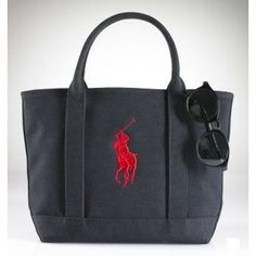 Ralph Lauren Manners Canvas Tote Ink Black/Redall of us need it, Ralph Lauren Leather Canvas Polo Tote .