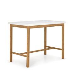 Table haute blanche et naturelle H90cm Blanc / naturel - Buluh - Tables hautes et bars - Tables et chaises - Salon et salle à manger - Décoration d'intérieur - Alinéa