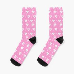 My Socks, Crew Socks, Patterned Socks, Designer Socks, Heart Patterns, Pretty In Pink, Pink White, Looks Great, Valentines