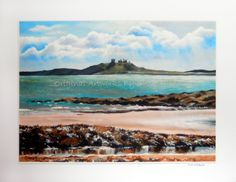 Dunstanburgh Castle Giclee Print- A4 Quality Mounted Giclee Print of Dunstanburgh Castle, Northumberland (beach sea seaside castle seascape) - pinned by pin4etsy.com