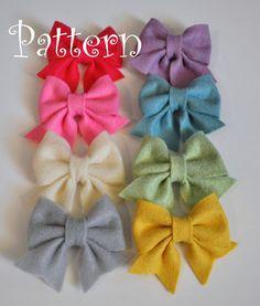 Felt Hair Bow Pattern Tutorial with Printable Templates 3 Bow Styles Included Hair clip, Baby Bow Tie, Baby Bow Headband Headband Tutorial, Bow Tutorial, Diy Headband, Headbands, Felt Hair Bows, Diy Hair Bows, Felt Diy, Felt Crafts, Felt Flowers