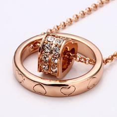 Cheap SWAROVSKI CRYSTAL GOLDTONE HEART ENGRAVED RING NECKLACE SWNL028 N10 [SKI143] - $21.00 - lucky brand , j.crew , lia sophia jewelry on sale !