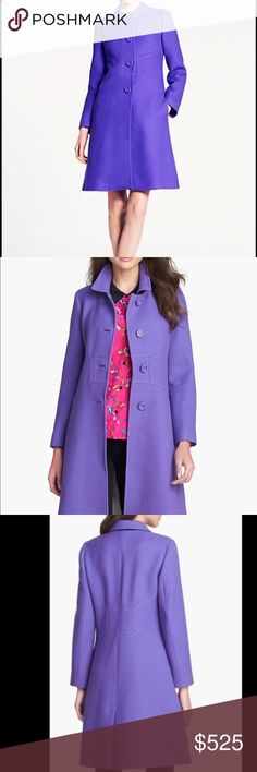 """NWT Kate Spade Purple """"Tiera"""" Wool Coat Brand new with tag and extra buttons attached. Size 4. Purple 100% wool with ivory acetate lining. Front pockets. Stitched bow detailing on front and back. Buttons are still covered in tissue paper and jacket has been in original plastic covering since purchase. Gorgeous jacket and a fantastic fit. I own and wear the same one in black and loved it so much, I bought in purple! Sadly, I haven't had a chance to use this, so please help me find this…"""