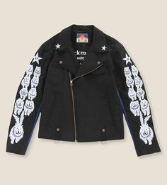 BLACKMEANS Wolf-embroidered biker jacket... want