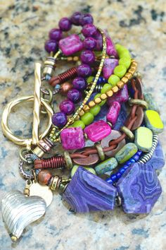 Purple, Green and Copper Artisan Mixed Media Heart Charm Bracelet $195