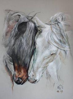 Discover thousands of images about Daniela Nikolova-Sidiropoulou Horse art Indio XLII & Entendido XXXIV - Caballos Mayoral Pretty Horses, Horse Love, Beautiful Horses, Horse Drawings, Animal Drawings, Art Drawings, Abstract Drawings, Abstract Art, Arte Equina