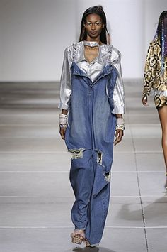 f88cc4bfcd78 ASHISH SS15 Trends - Sports Luxe Glam Denim Re-worked Denim classics  Dungarees Embellishment