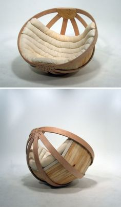 The Cradle Chair by Richard Clarkson is a papasan-style basket chair made of all non-toxic materials for a comforting nap. Wood Furniture, Furniture Design, White Accent Chair, Accent Chairs, Big Basket, Papasan Chair, Chair Cushions, Take A Seat, Cool Chairs