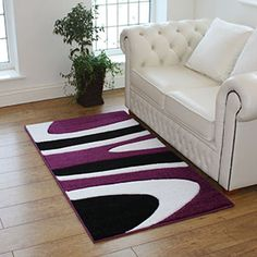Make your Rooms More Interesting With Purple and White Rugs