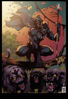 Black Panther Colors by on DeviantArt Black Panther Comic, Black Panther Tattoo, Marvel Comics Art, Marvel Heroes, Comic Books Art, Comic Art, Wakanda Marvel, Avengers, Black Comics