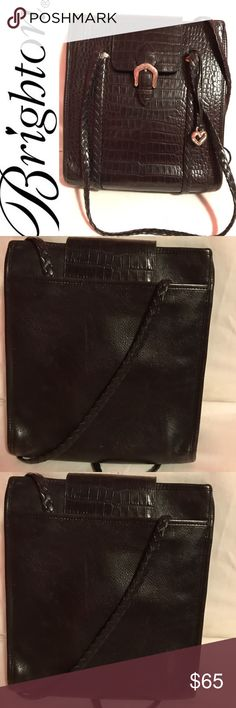 """Brighton Messenger Brighton Messenger Super Roomy and Stylish Bag.  My daughter's first designer handbag!  Some scratches on the decorative metal fixtures (see pictures), otherwise minimal wear.  Approximate size 10""""L x 4""""W x 12""""D.  Good Used Condition Brighton Bags Shoulder Bags"""