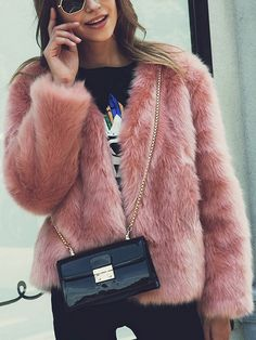 Nude Pink Collarless Open Front Faux Fur Coat