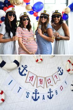 Ahoy Its a Boy! Our nautical themed baby shower has everything from decorations to thank you notes. Let's Party! Baby Shower Niño, Shower Bebe, Boy Baby Shower Themes, Baby Boy Shower, Sailor Baby Showers, Anchor Baby Showers, Nautical Baby Shower Decorations, Nautical Party, Baby Shower Nautical