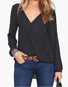 Simple V-Neck Candy Color Long Sleeve Chiffon Blouse For Women