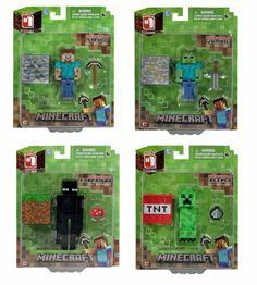 Minecraft Game Overworld Core Player Figures Steve Enderman Creeper Zombie Set