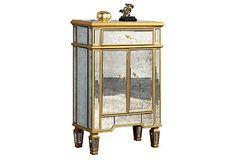 Rhys Antiqued Cabinet, Gold on OneKingsLane.com