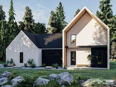 050H-0394: Two-Story Contemporary House Plan Contemporary Style Homes, Contemporary House Plans, Stucco Exterior, Bungalow Exterior, Modern Farmhouse Plans, Farmhouse Design, Scandinavian Home, Open Floor, Great Rooms