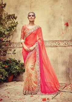 Alluring Beige & Pink Saree