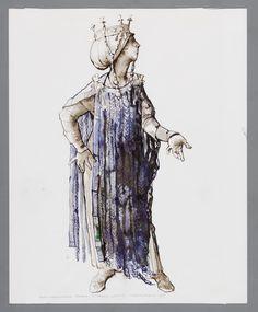 Sic transit gloria mundi  Costume designs for Annet Nieuwenhuijzen as Jocasta in King Oedipus by Herman van Elteren, 1978
