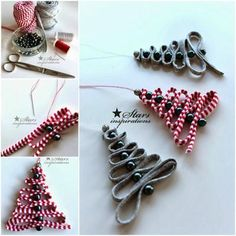 How to DIY Easy Ribbon Bead Christmas Tree Ornament | www.FabArtDIY.com: